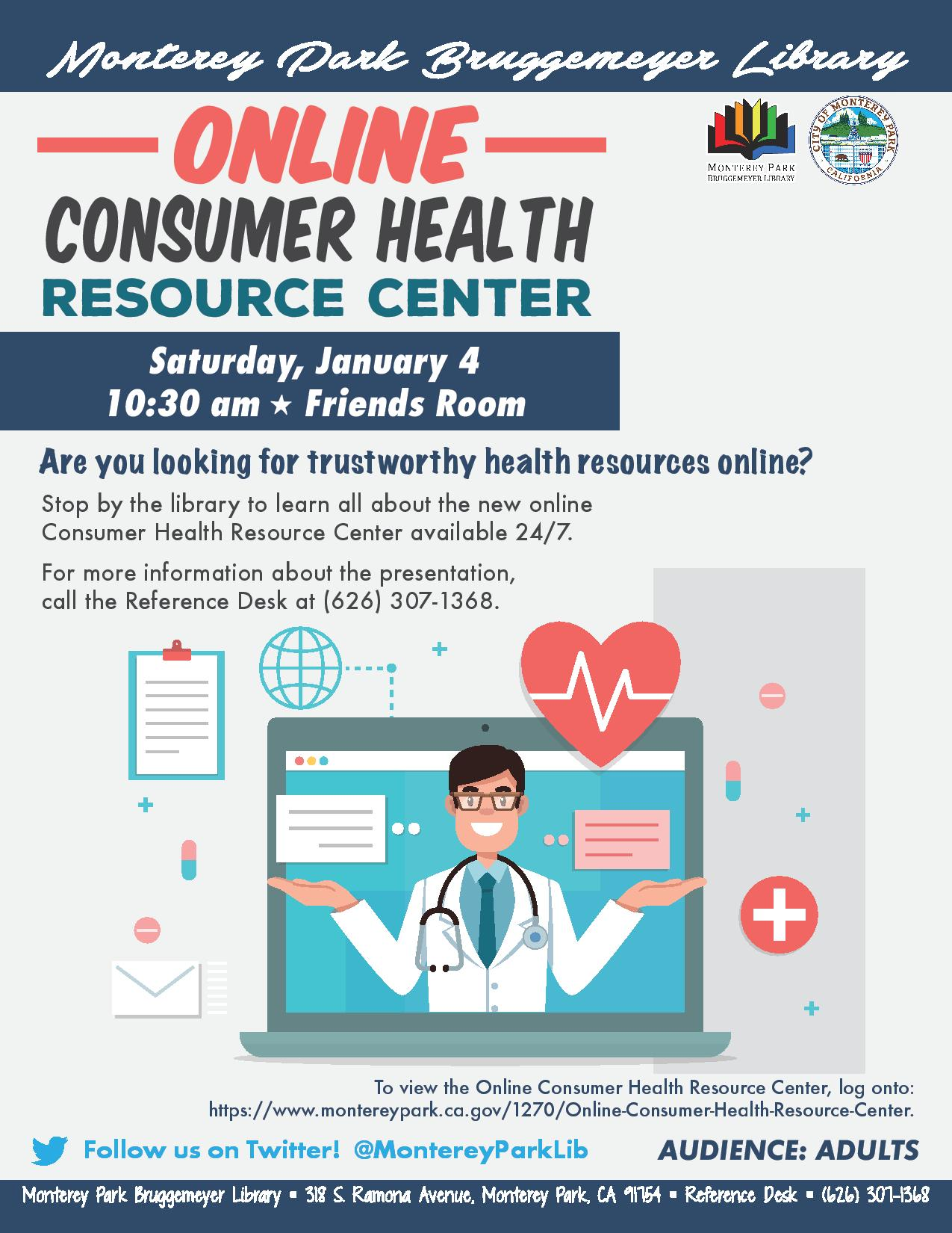 Jan 2020 - Online Consumer Health Resource Center