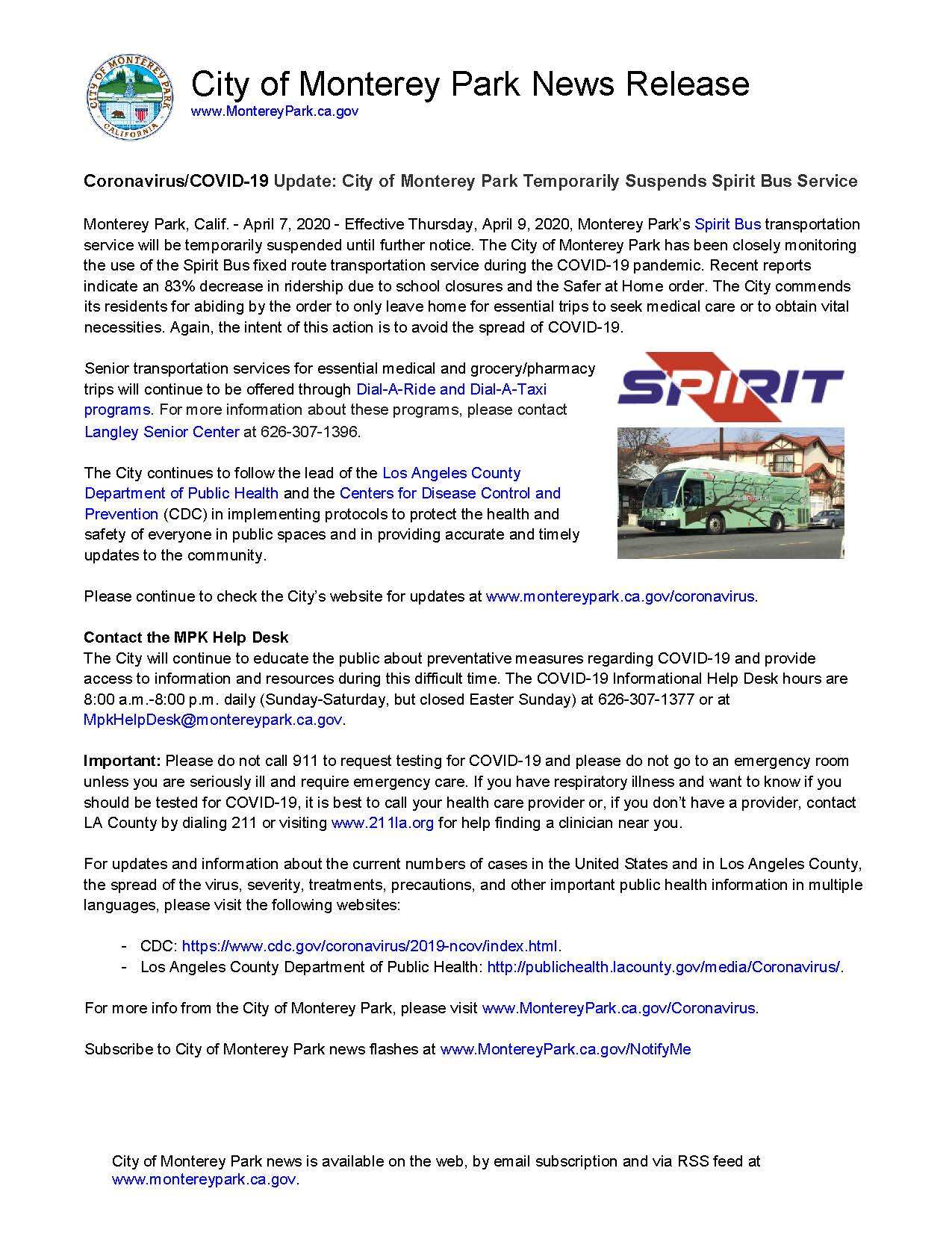 MPK News Release-Coronavirus COVID-19 Update Monterey Park Temporarily Suspends Spirit Bus 4-7-20