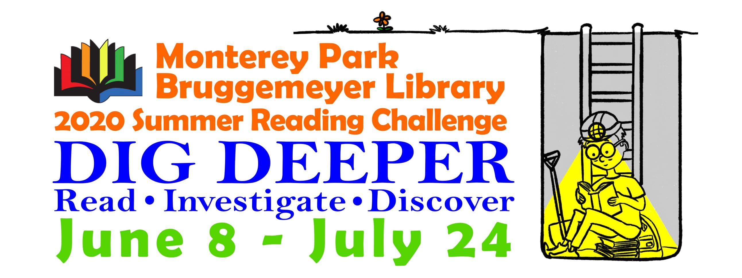 Library summer reading program dig deeper logo