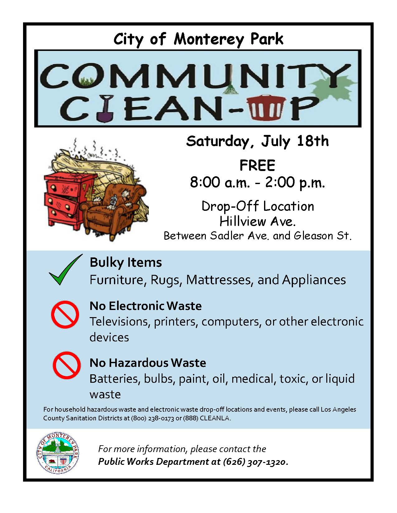 Community Clean Up Flyer 7-18-20 bulky items etc