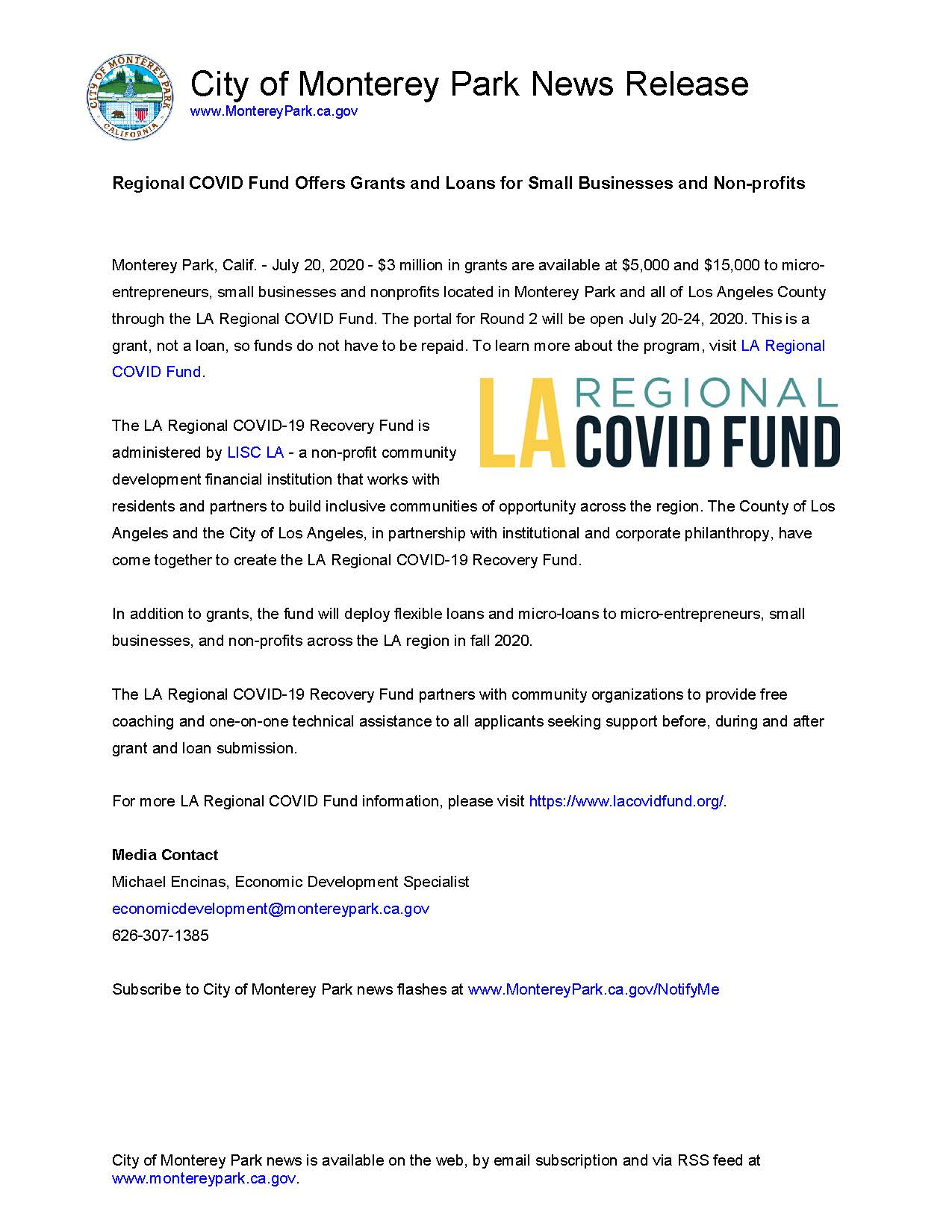 MPK News Release-Regional COVID Fund Offers Grants and Loans for Small Businesses and Non-profits