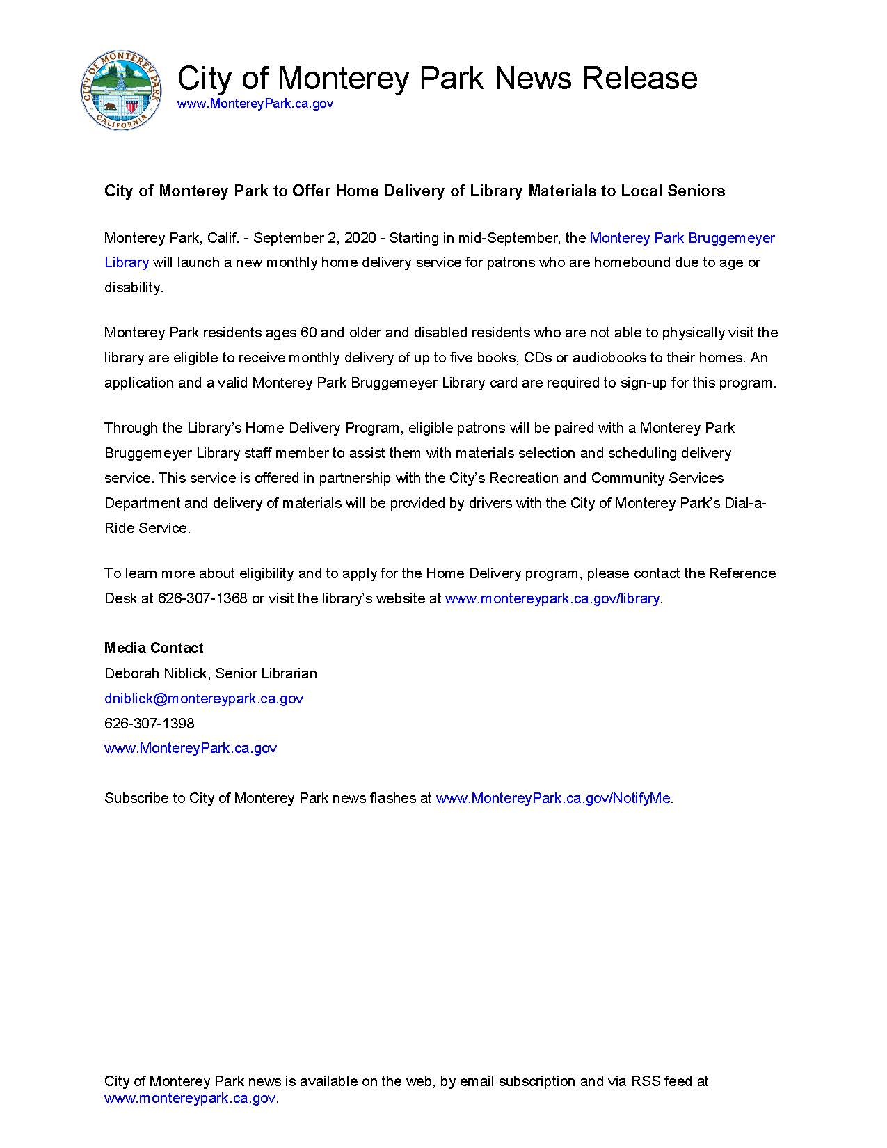 MPK News Release-City of Monterey Park to Offer Home Delivery of Library Materials to Local Seniors