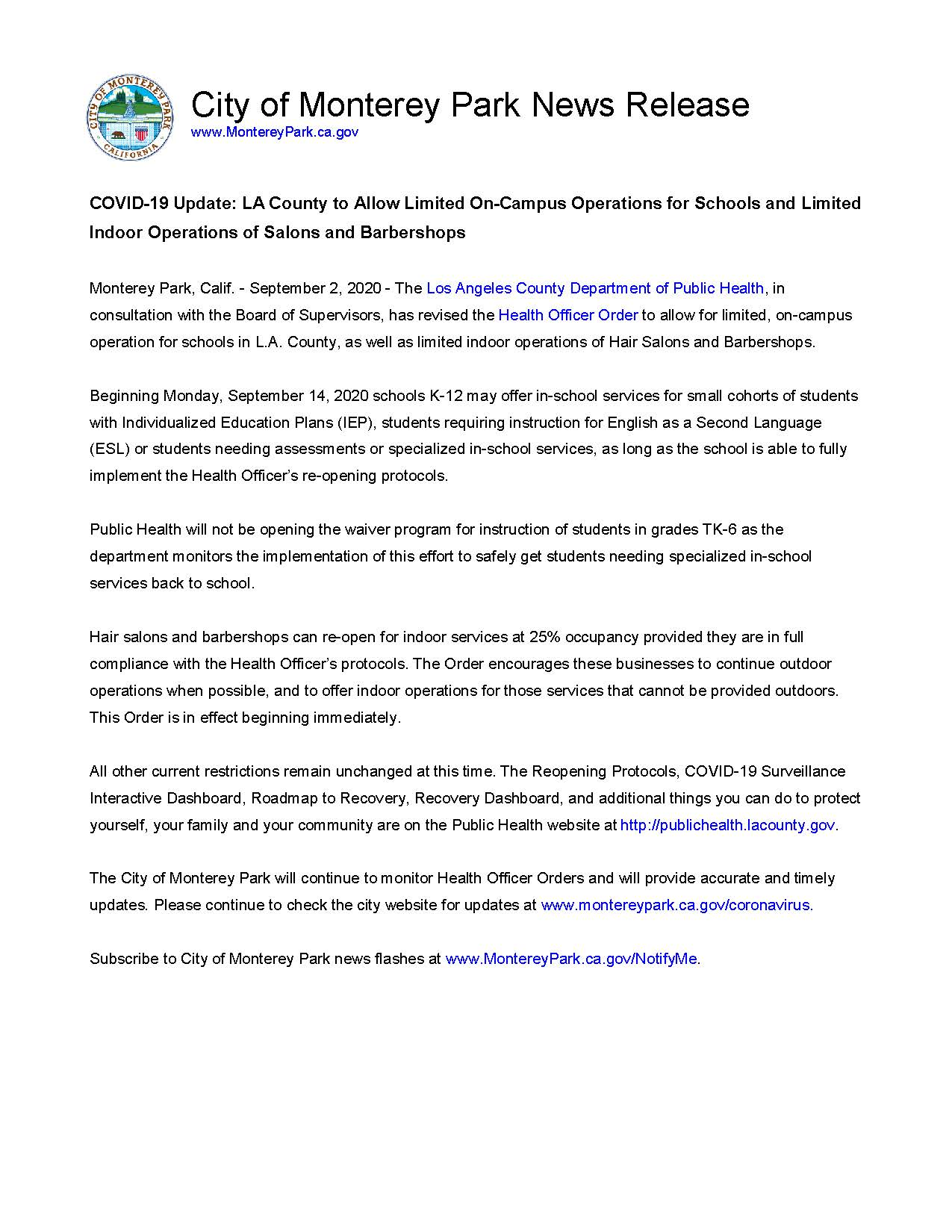 MPK News Release-LA County to Allow Limited On-Campus Operations for Schools and Limited Indoor Oper