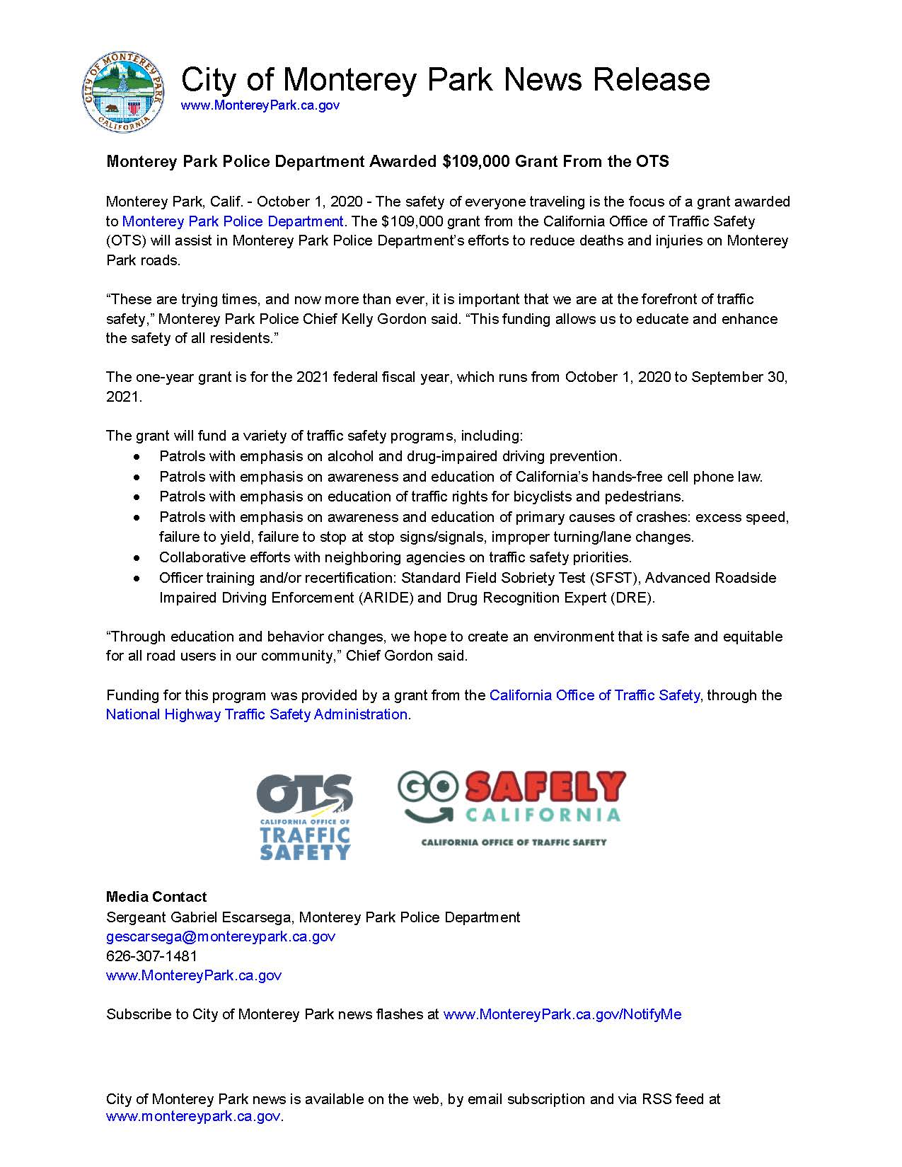 MPK News Release-Monterey Park Police Department Awarded Grant From the OTS