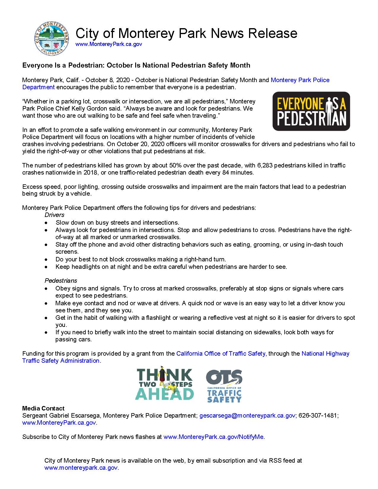 MPK News Release-Everyone is a Pedestrian October is National Pedestrian Safety Month