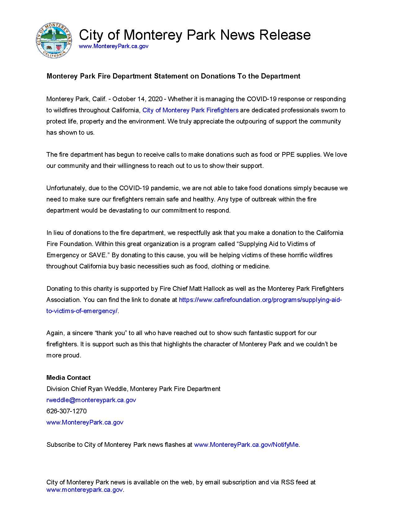 MPK News Release-Monterey Park Fire Department Statement on Donations To the Department