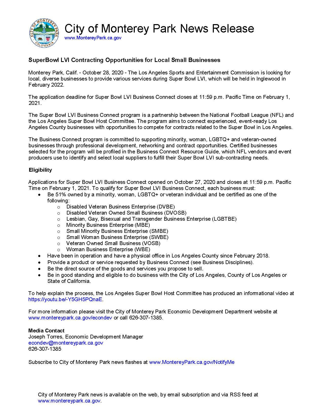 MPK News Release-SuperBowl LVI Contracting Opportunities for Local Small Businesses