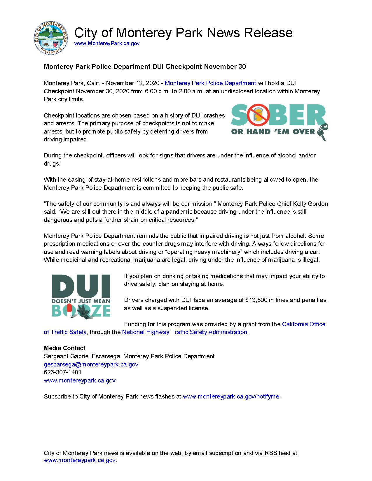 MPK News Release-Monterey Park Police Department DUI Checkpoint Nov 30