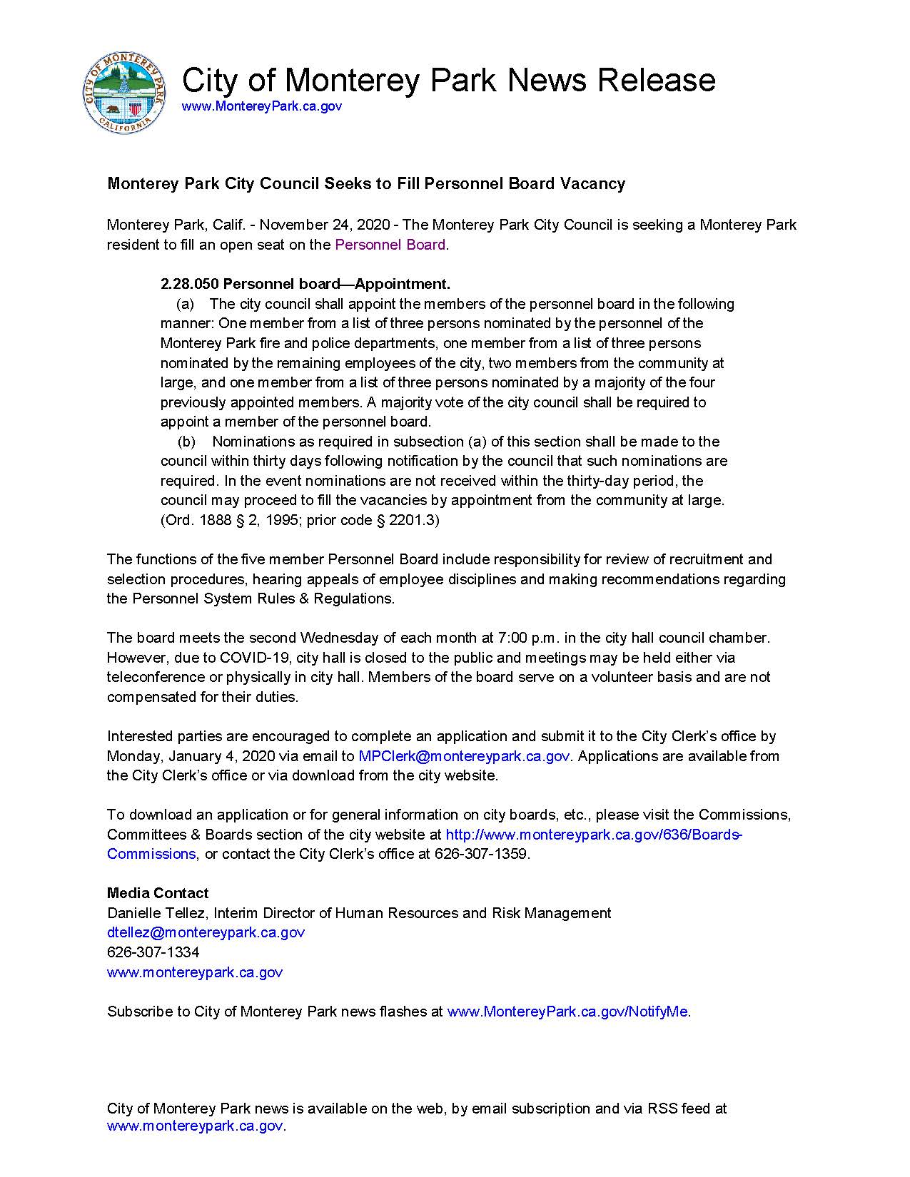 MPK News Release-Monterey Park City Council Seeks to Fill Personnel Board Vacancy 11-24-20