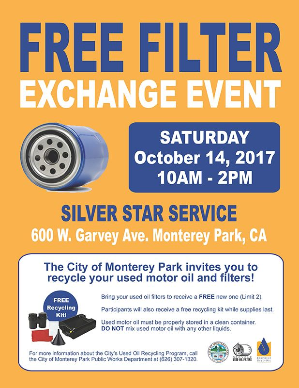 Free Oil Filter Exchange Event flyer 20171014