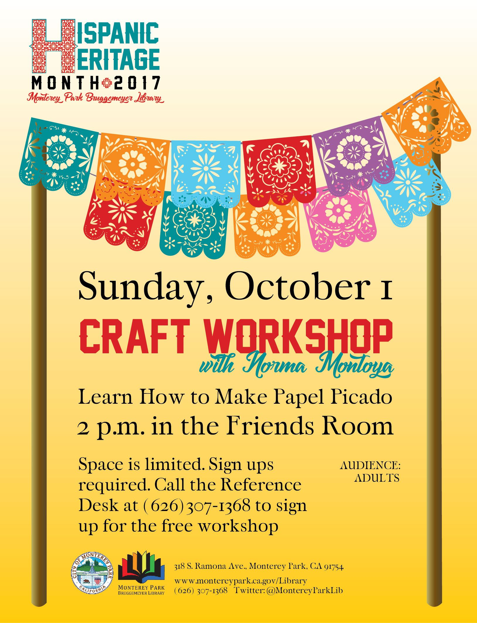Library Hispanic Heritage Month event-Papel Picado workshop.