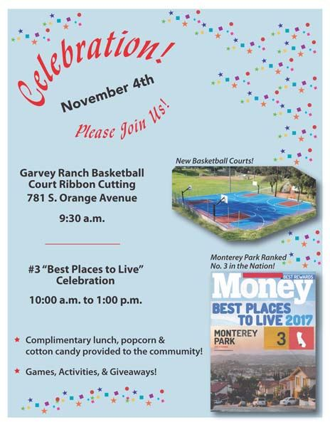 Garvey Ranch Park basketball court Best Places to Live celebration 11-4-17 flyer