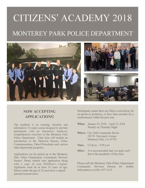 Citizens Academy 2018 flyer