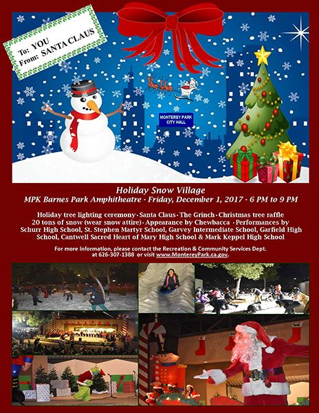 Holiday Snow Village 2017 flyer 20171129