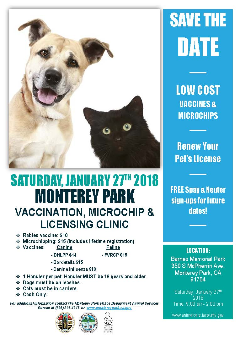 MPK pet license vaccination microchip licensing clinic January 27, 2018 flyer
