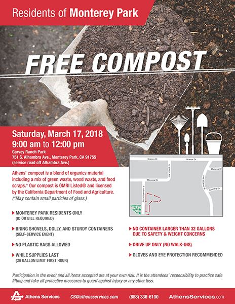 Free compost giveaway at Garvey Ranch Park 3-17-18