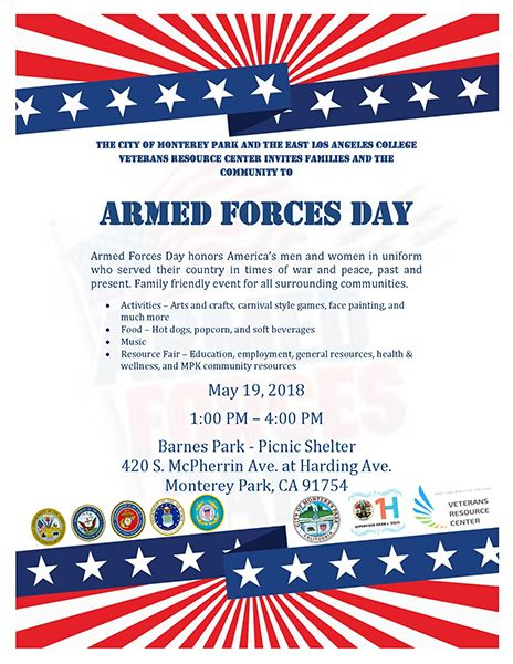 Armed Forces Day, Saturday, May 19, 2018 at Barnes Park