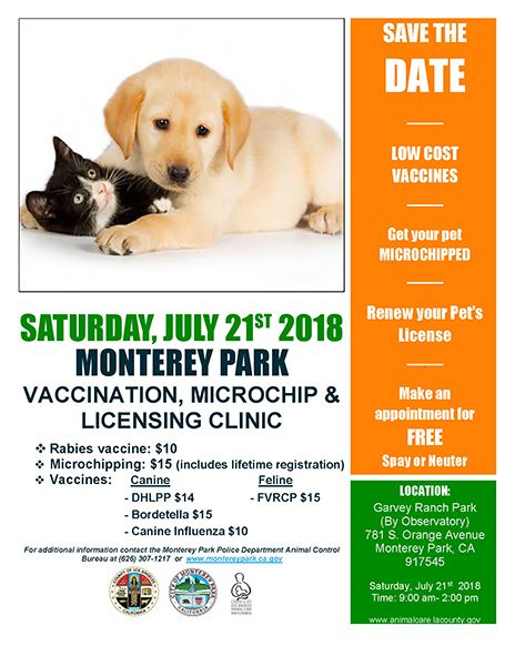 MPK pet vaccination microchip licensing clinic 7-21-18 flyer