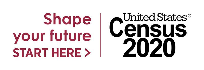 "Census 2020 logo ""Shape Your Future, Start Here"" on white background"