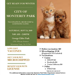 Pet vaccination microchip licensing clinic 9-21-19 flyer 835x1080