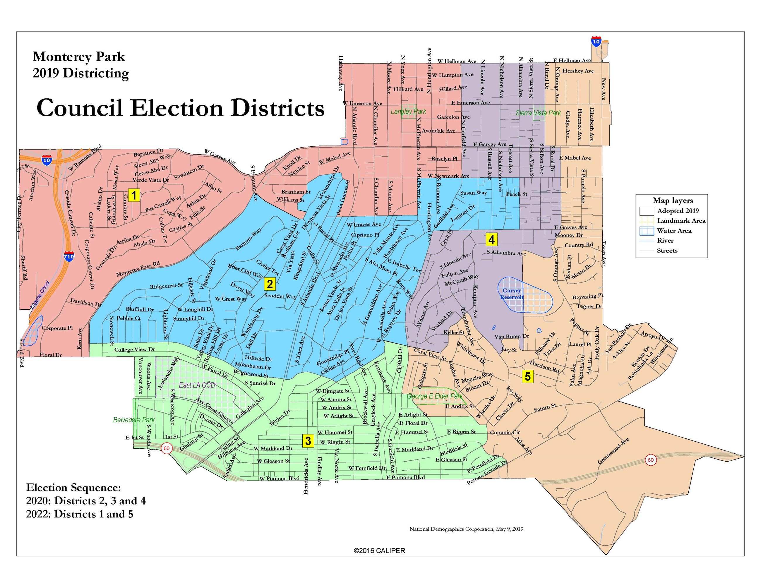 Monterey Park 2019 Adopted Districts Map Opens in new window