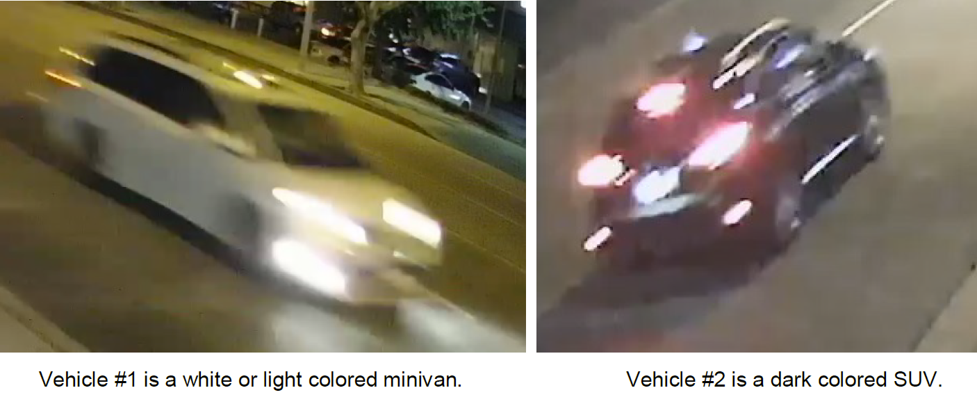 Vehicle #1 is a white or light colored minivan.	Vehicle #2 is a dark colored SUV.