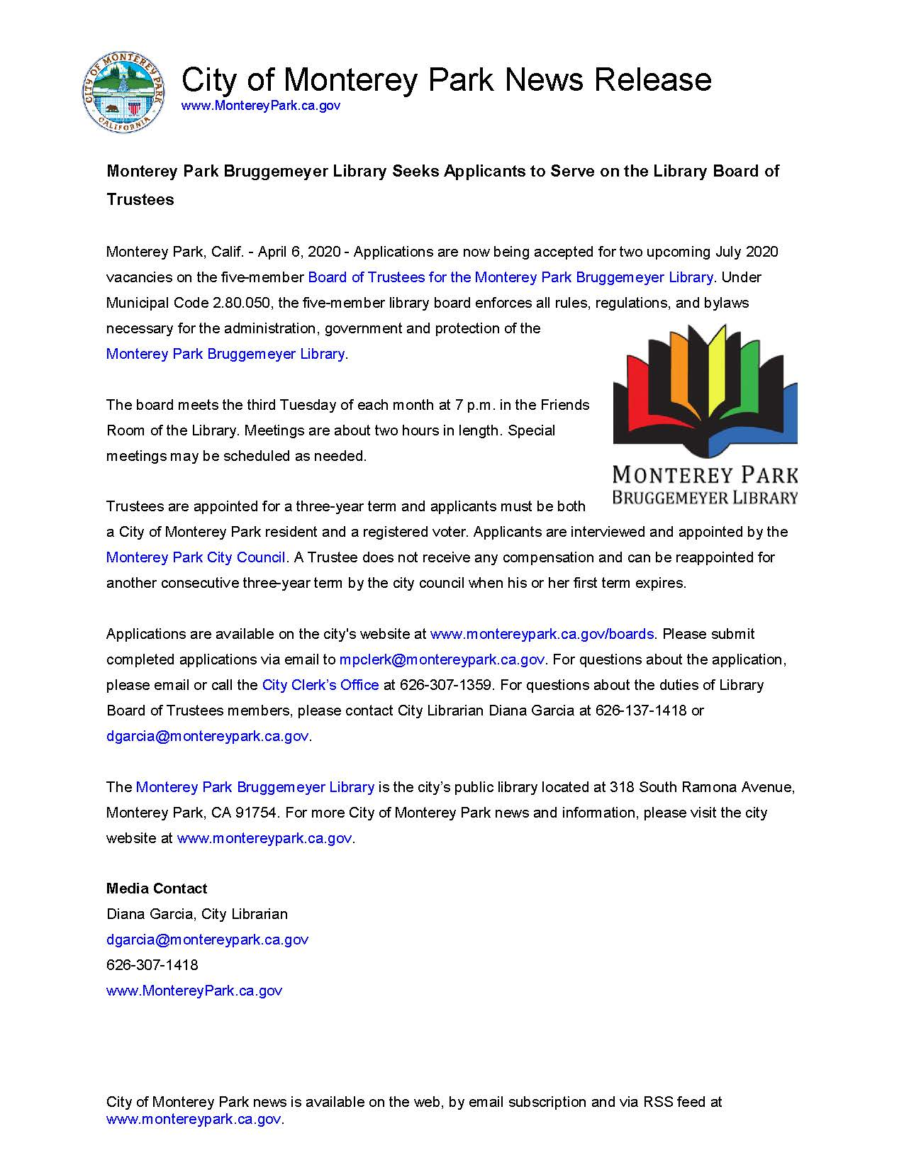 MPK News Release-MPK Bruggemeyer Library Seeks Applicants to Serve on the Library Board of Trustees