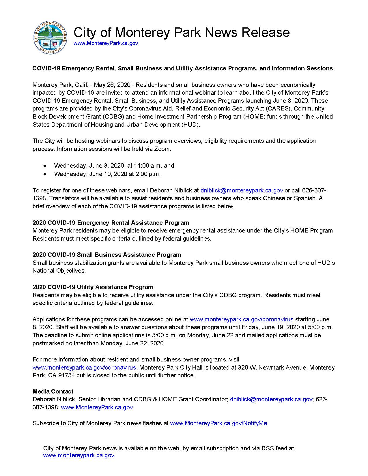 MPK News Release-COVID-19 Emergency Rental Small Business Utility Assistance Programs and Info Sessi