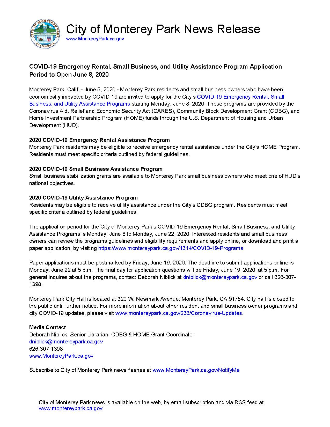 MPK News Release-COVID-19 Emergency Rental Small Business and Utility Assistance Program Application