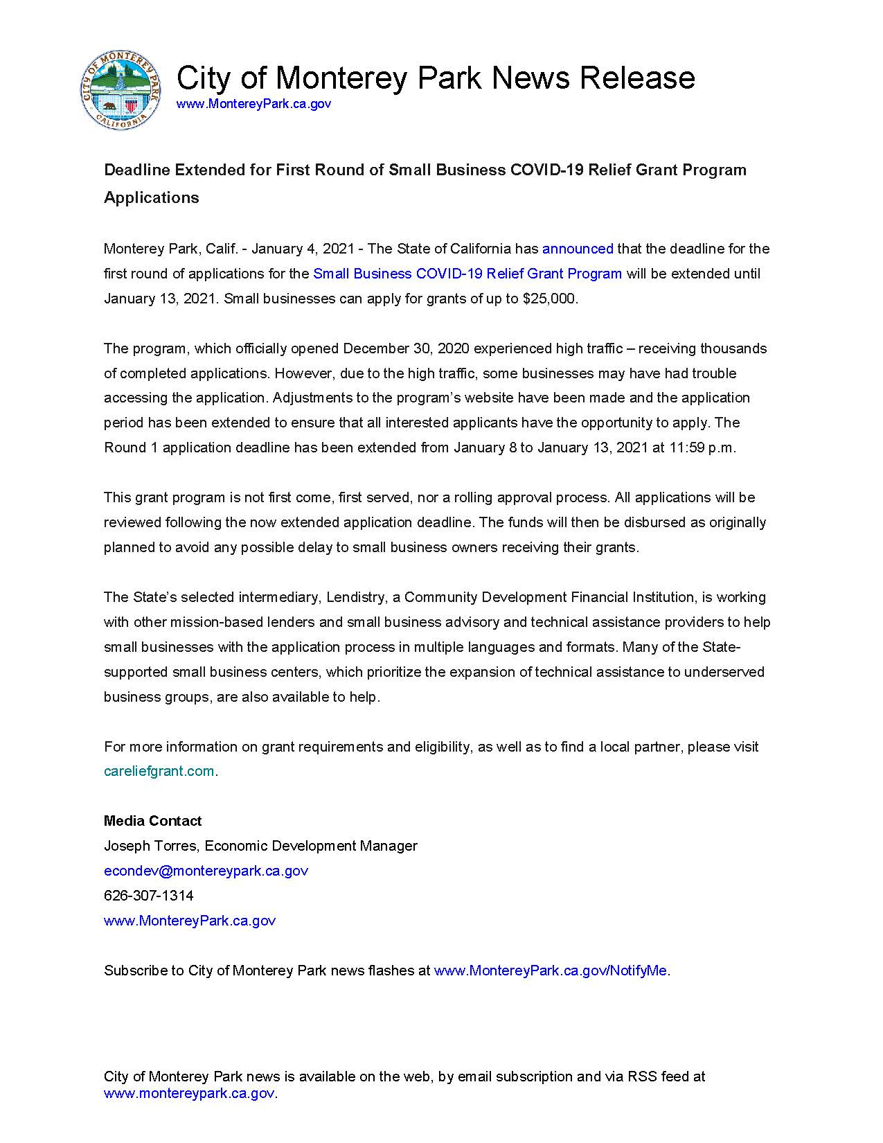 MPK News Release - CA COVID19 Grant Program Round 1 Deadline Extended to 1-13-21