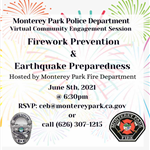 MPPD community meeting on Firework Safety and Earthquake Preparedness June 8, 2021 at 6:30 p.m.